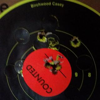 Last group 6 rounds quick shots wolf 100 grain steel case at 50 yds