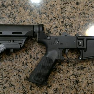 Completed AR-15 lower with Spike's tactical lower receiver.