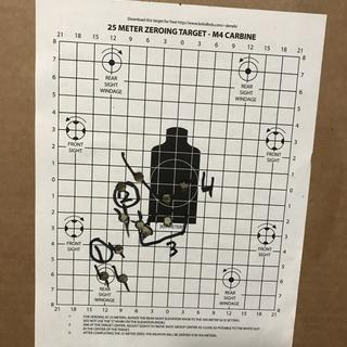 On target after four groups, three shots at 25 meters BZO.