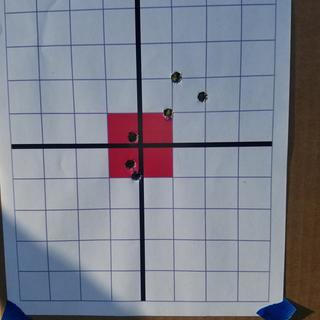 First 6 shots at 100 yards,  with a scope adjustment after the 3rd shot.