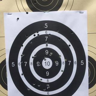 First time firIng this weapon. 50 yards without a scope. Not bad.   Can't wait to add the Nikon 223
