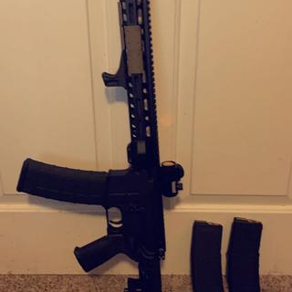 Bushnell trs-25 , Magpul rail covers and magpul MOE+ pistol grip, magpul 40rd pmag and BCM Handstop.