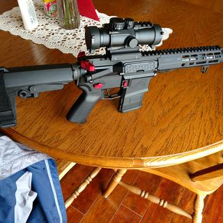 "7.5"" Barrel , Areo Precision billet lower, upper and forend. Primary Arms 3x Prisim sight."