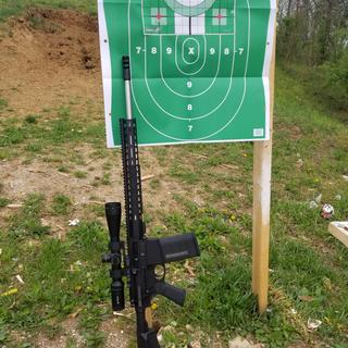 First five shot group at 100 yards with 168gr Federal GMM ammunition