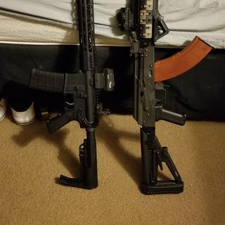 My AR next to my AK...best friends lol
