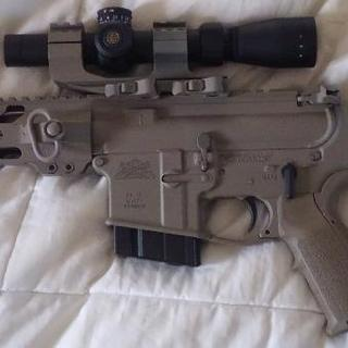 6.5 Grendel with new paint, Leupold MK AR GD, and a flashlight.