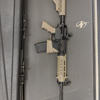 Installed on my Anderson lower. Added mag well extension, m-lok handguard, flip up rear sight.
