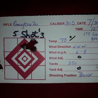 5 shots smk. 175gr bthp. 250 yards. Custom Remington model 700 308.