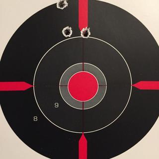 50 yards shooting Fiocchi 77 grain matchking BTHP.