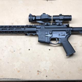 """On a PSA 16"""" 300 AAC BLACKOUT and an AERO lower."""