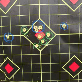 The two wingers are my fault. 100 yards using Holosun Red Dot.