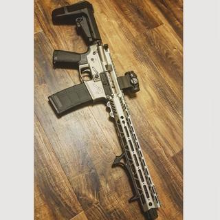 My 10.5 PSA 12 inch slant mlok pistol kit turned into this Titanium cerakoted pistol.