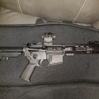AM lower, pop up sights and Holosun red dot
