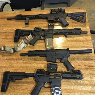 Family photo. The rifle is great. Goes together well shoots great. Magpul stock is a little loose.