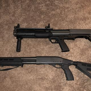 "KSG (26.1"") and tac-14 (~32"") side by side"