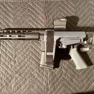 Sba3 with law tactical folding stock and 7.5 barrel, 20rd mag and romeo5 reddot