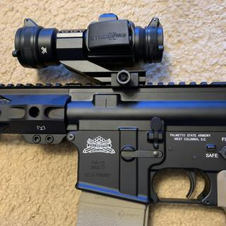 Detail of the fill I did, along with the Vortex Strikefire II red/green dot sight.