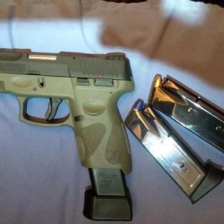 "Taurus G2C 9mm 3 2"" Pistol, Black and OD Green - 1-G2C931-12O"
