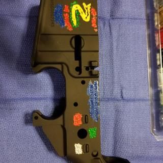 Color filling the etching on my lower receiver.