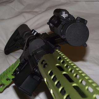 "Have 4 of these Strikefire ll's mounted on different guns, this one a 9mm PCC gun in ""Zombie Green"""