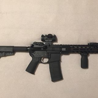 Added a Bushnell TRS-25 , Magpul MBUS sights , foregrip and a micro flashcan