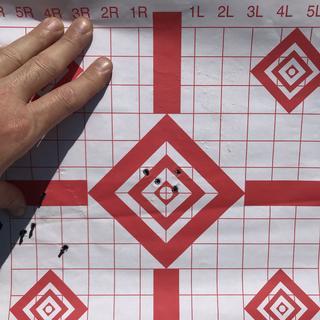 4 shot group at 200 yards using 140gr Hornady A,merican Gunner ammor.