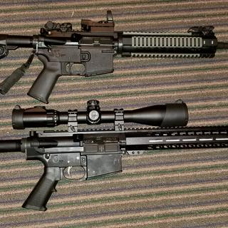 My ar15 on top. Pa10 on bottom. Utg 4x16x44 scope