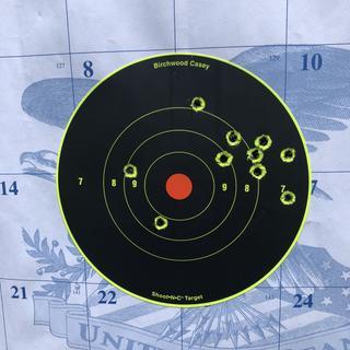 100 yds with a Barska 2-4x SWAT scope