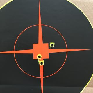 50 yards with red dot optic and cheap ammo