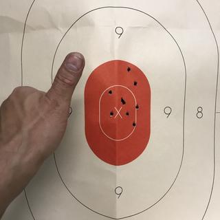 "Iron sights,  standing, 0 malfunctions.  223 55 grain bulk Ammo.  10.5"" Pistol barrel. Very happy"