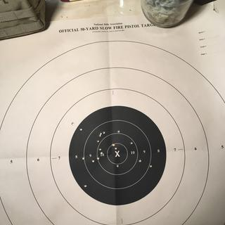 Shooting with iron sights at a 50yd pistol target at 100 yds. Great grouping.