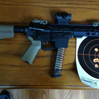 My PSA AR9 pistol with Magpul BUIS and Sig Saurer Romeo 5 red dot optic.