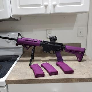 Wifes 5.56 Carbine, Magpul furniture that I dyed purple. The Well Armed Woman gun. Sig Romeo 5 optic