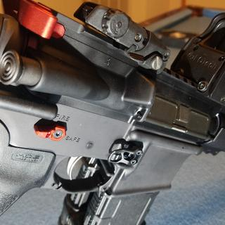 Strike Industries extended charging handle, Phase 5 ambi selector, and Odin Works mag release.