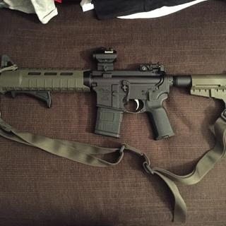 Put the Slim magpul jammy on, magpul sling, AFG changed it to the magpul pistol grip.