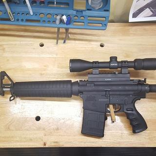The rifle.  Ebay special muzzle brake and cheap Fab Defense knock off grip.