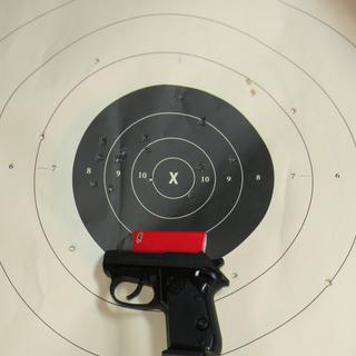 You shoot this @ 25 yards, and see how well YOU do. Hot shells eject UP, and bounce back down. FUN!