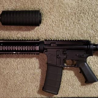 Stock grip from the kit compared to rails