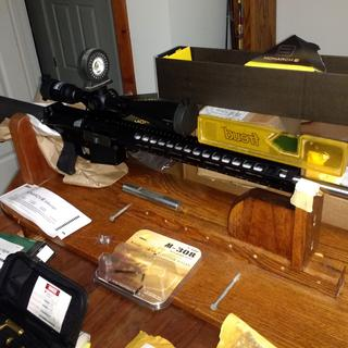 AR10 Assembled laser bore sighted with Nikon Monarch scope