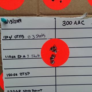 50 yards bench rest. 120 gr Rem v 110 gr Hornady handload.
