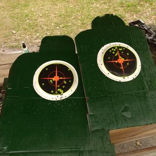 """25 yards reflexive fire two shooters. Two different 16"""" barrels. One was a Palmetto State SS."""