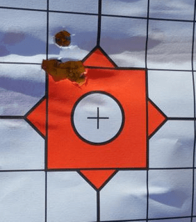 50 yd group of hornady 110 black, fired with a sig romeo red dot during function check.