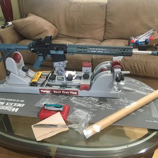 6.5 Creedmoor complete in Titanium Blue! Parts fit amazingly good together.  Thanks PSA!