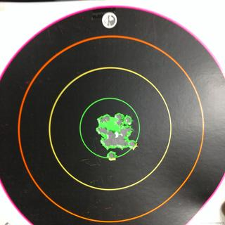 27 rounds, less than 2 inches at 35 yards.