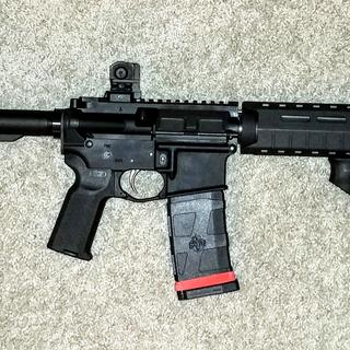 With Magpul MOE SL handguard and UTG rear sight on a PSA pistol lower.