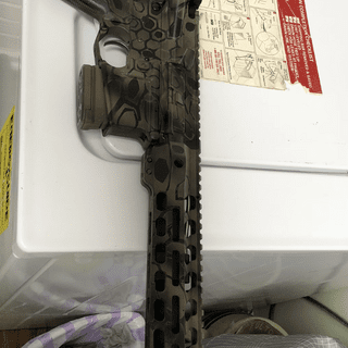 This upper is sitting atop a Daytona tactical 80% lower with a Kak pistol stabilizer.