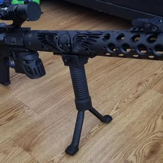 Barrel guard bu UniqueARs Mojo may well grip Tacticon flip up sights and red dot sight and bipod