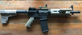 PSA 10.5 build kit with added MBUS sights and reflex sight.