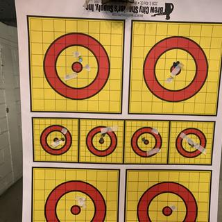 fast shooting. all 6 targets in less then 2 seconds. hit two bulls,my wife and i took turns shooting