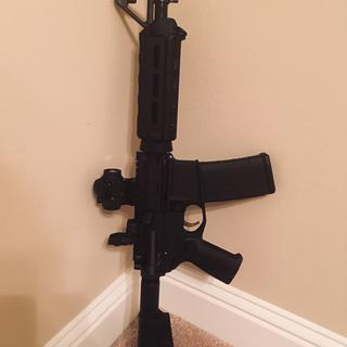 Added a Magpul rear MBUS and TRS-25 red dot